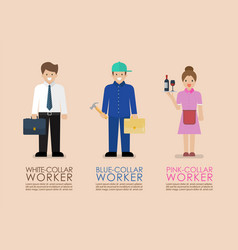 White blue and pink collar workers infographic vector