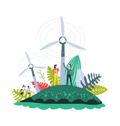 wind energy plantations windmills and plants set vector image
