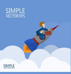 a man flies on a rocket vector image vector image