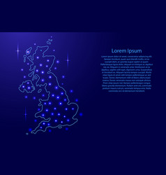 map of the united kingdom from the contours blue vector image