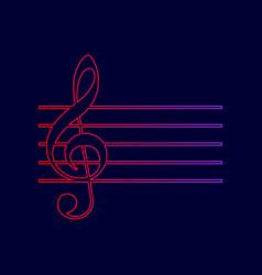 music violin clef sign g-clef line icon vector image vector image