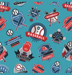 baseball logo badge seamless pattern background vector image