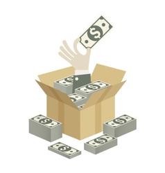 Box of money in hand vector image vector image