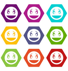 confused emoticon set color hexahedron vector image