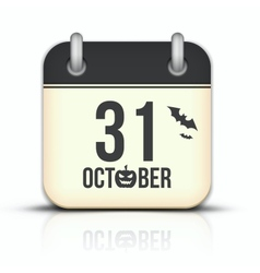 Halloween calendar icon with reflection 31 October vector image vector image