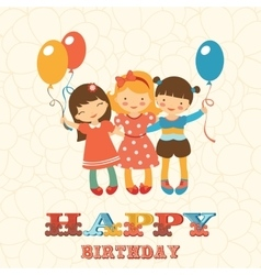 Happy birthday card with happy jumping kids vector image vector image