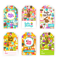 happy easter gift tag labels vector image