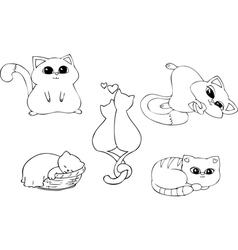 Coloring page set CATS vector image vector image