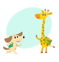 cute animal student characters dog and giraffe vector image