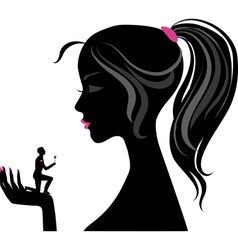 Girl silhouette love vector image vector image