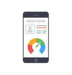 smartphones with credit score app on the screen in vector image vector image