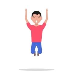 cartoon man jumping happiness vector image vector image
