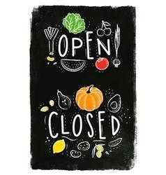 Eco signboard open close chalk vector image