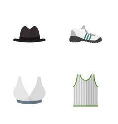 Flat icon clothes set of sneakers singlet panama vector