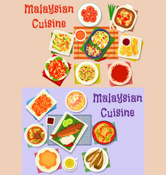 malaysian cuisine dinner dishes icon set design vector image