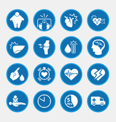 obesity related diseases icons vector image vector image