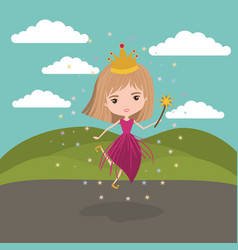 princess fairy fantastic character with crown and vector image vector image