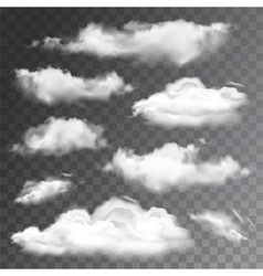 Set of transparent realistic clouds vector image vector image