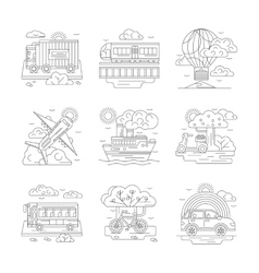 Set of transportation detailed line icons vector image