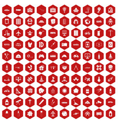 100 development icons hexagon red vector