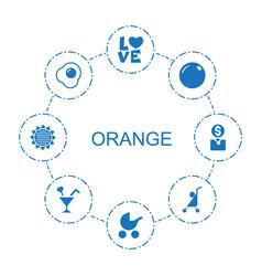 8 orange icons vector