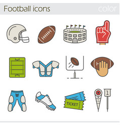 American football color icons set vector