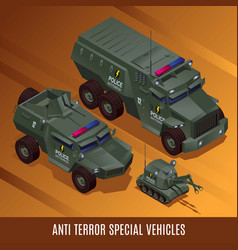 Anti terror special police vehicles vector