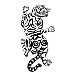 asian japanese tiger wild animal for tattoo or vector image