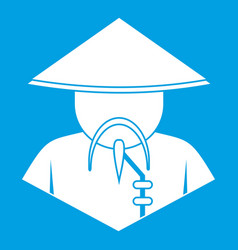 Asian man in conical hat icon white vector