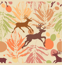 autumn in the forest seamless pattern vector image