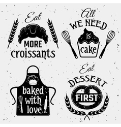 Bakery With Quotes Monochrome Set vector image