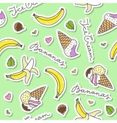 Bananas and ice cream cones vector