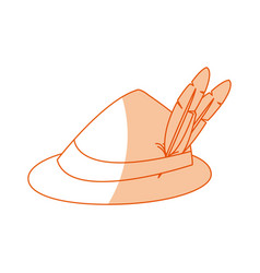 Bavarian oktoberfest style hat with a feather vector