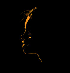Beauty woman face silhouette in contrast backlight vector