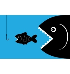 Big fish with bait vector
