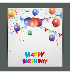 Birthday card design with colorful balloons vector image