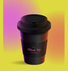 Black coffee cup mockup on colored background vector