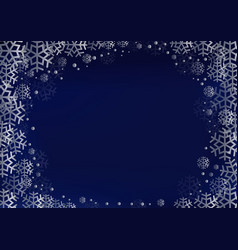 Blue background with frame of silver snowflakes vector