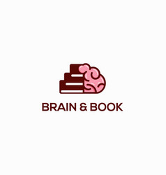 brain and book logo template vector image
