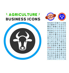 Bull head rounded icon with set vector