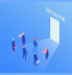 candidates waiting job interview isometric vector image