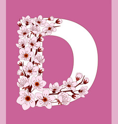 Capital letter d patterned with cherry blossom vector