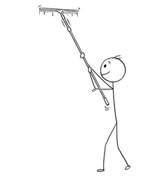 Cartoon of man cleaning window with long squeegee vector