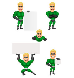 cartoon superhero collection set vector image
