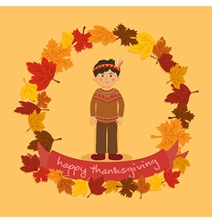Circle Autumn Leaf Thanksgiving Indian Boy vector