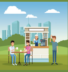 Coffee shop and customers vector