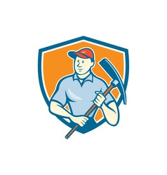 Construction Worker Holding Pickaxe Shield Cartoon vector image