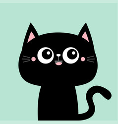 Cute black cat kitty kitten smiling face icon vector