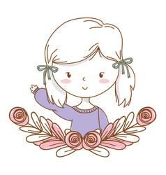 Cute girl cartoon stylish outfit portrait floral vector