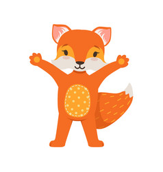 Cute orange fox character standing with hands up vector